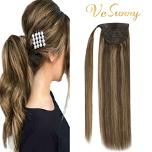 VeSunny Ponytail Extensions Wrap Around Magic Tape with Comb Machine Remy 100% Human