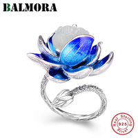 BALMORA Real 925 Sterling Silver Enameling Elegant Lotus Open Stacking Rings for Women Gift Vintage Fashion Jewelry Anillos