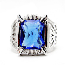 Anime Black Butler Kuroshitsuji Sebastian Michaelis Ciel 925 Sterling Ring Blue Crystal Ring Cosplay Prop Halloween Cartoon(China)