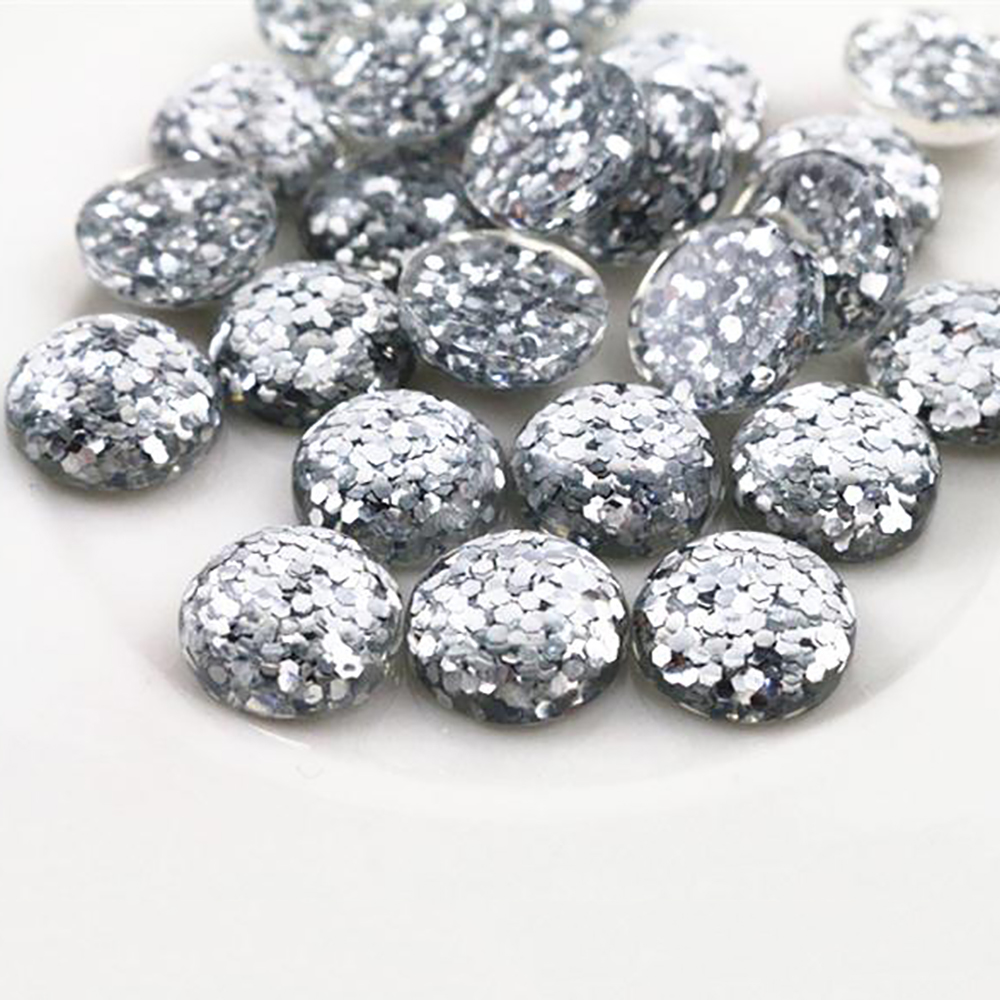 New Fashion 40pcs 12mm Silver Color Flat Back Resin Cabochons Cameo  G5-07