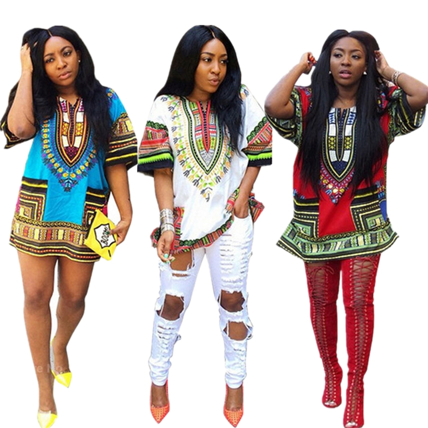 Afircan Clothes Ladies Dahsiki Print Top Bazin Folk Style Classic African Dresses For Women Streetwear Party Fashion Clothing