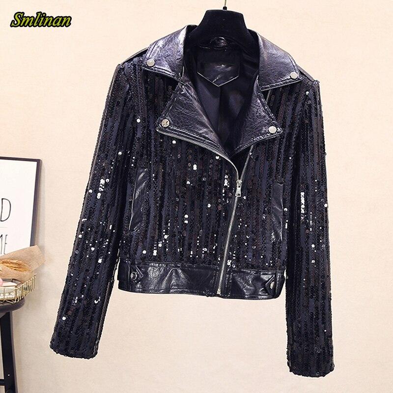Женская мотоциклетная куртка Smlinan, повседневная байкерская куртка из искусственной кожи на молнии с отложным воротником и блестками Кожаные куртки    АлиЭкспресс