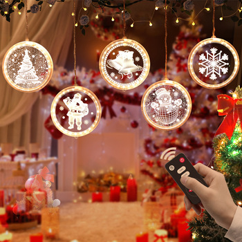 3D Christmas Party Decor light string 5 LED For home Hanging Pendants lights New Year Xmas Tree Ornaments Window Decoration lamp diy felt christmas tree new year gifts kids toys artificial tree wall hanging ornaments christmas decoration for home