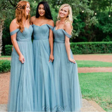Real Rill Off The Shoulder Strapless Bridesmaid Dresses Tulle Lace Up Back Floor Length A Line Maid Of Honor