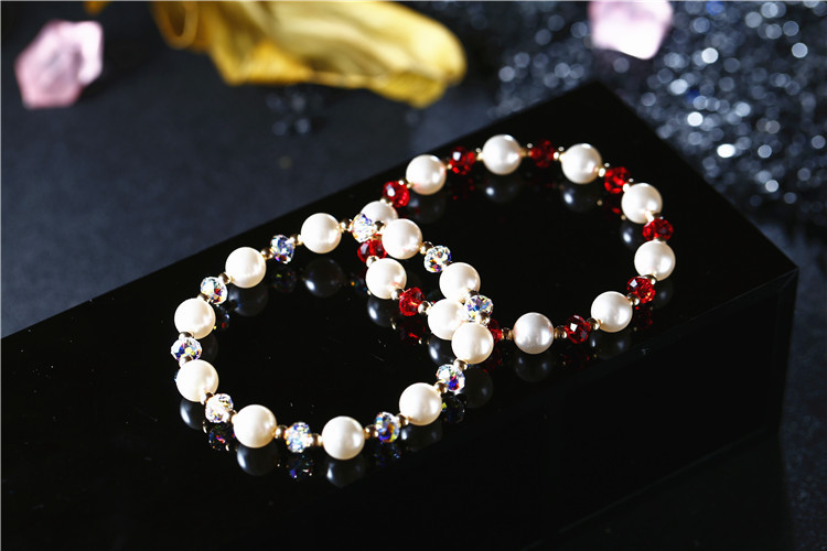 FXM New diy creative crystal pearl bracelet women 39 s fashion jewelry bracelet adjustable elastic rope bracelet in Chain amp Link Bracelets from Jewelry amp Accessories