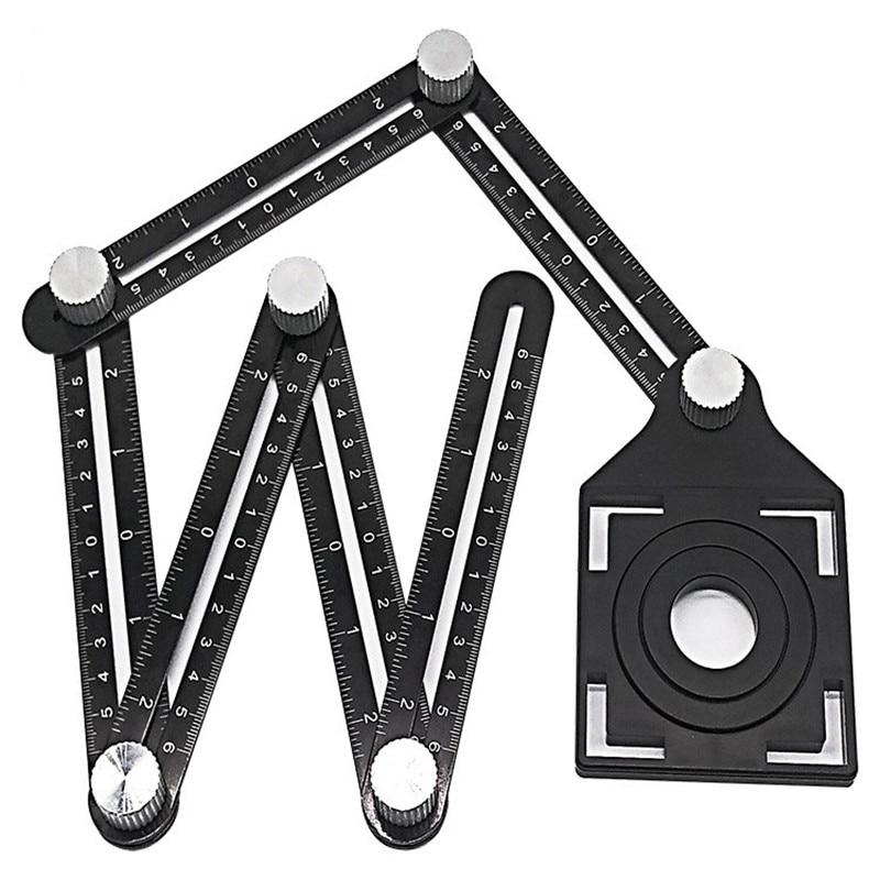 Useful Tile Hole Locator Adjustable Tool Masonry Glass Fixed Angle Measuring Ruler Universal Angular Template 4/6/12 slides/fold