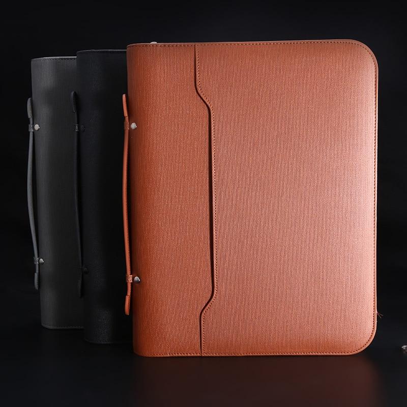 A4 Padfolio File Cabinet Folder Luxury Binder Fichario Organizer Holder Business Rings Manager Briefcase Zipper Spiral Notebook