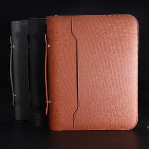 A4 padfolio arquivo gabinete pasta fichario luxo titular organizador anéis de negócios gerente pasta zíper espiral notebook