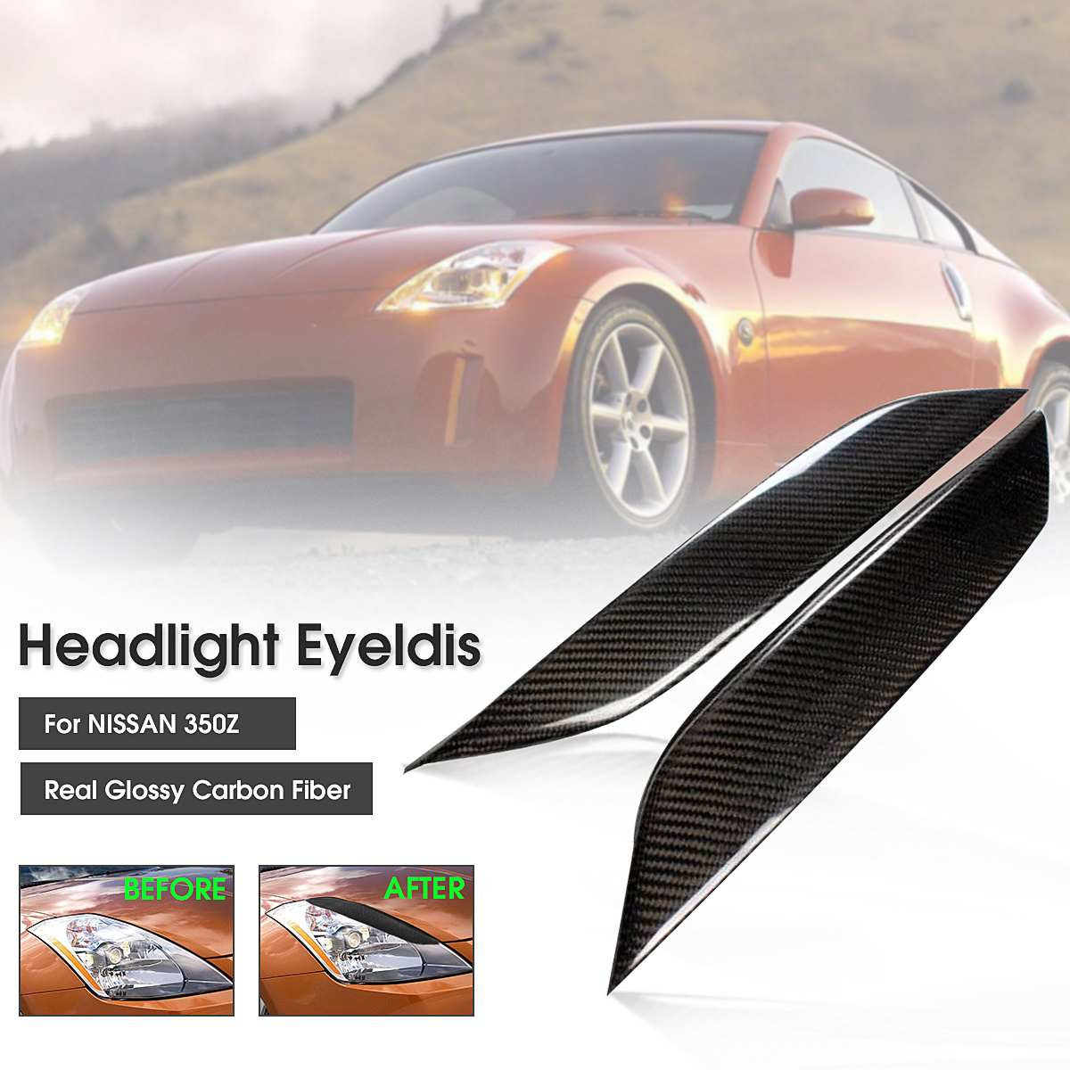 Real Carbon Fiber A Pair Car Front Headlight Eyelids Eyebrow Eye Lid Cover Tirm For Nissan 2003-2008 350Z Z33 All Models image