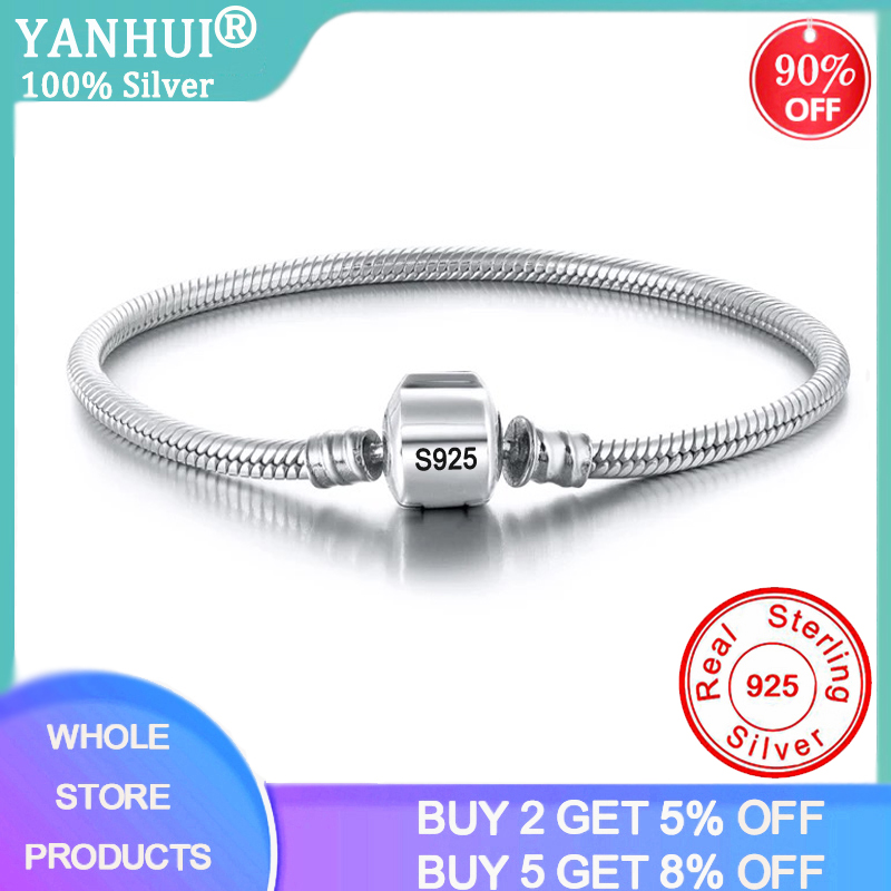 YANHUI Fine Jewelry With Certificate Women 100% Solid Silver 3MM Charm Bracelet Bangle With Original S925 LOGO DIY Bead Bracelet