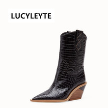 Fashion Embossed Microfiber Leather Women Boots Pointed Toe