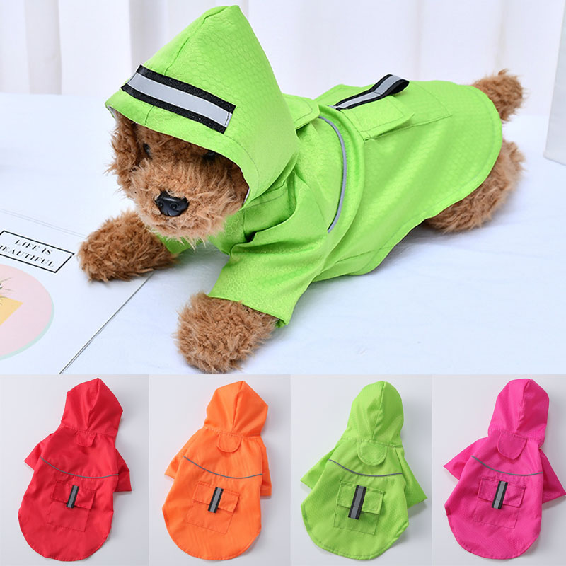 S-XL Creativity Pets Clothes Hooded Raincoats Reflective Strip Dogs Rain Coats Waterproof Outdoor Breathable Net Yarn Jackets
