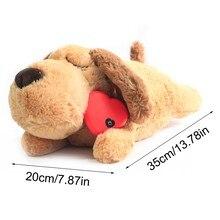 Bonito batimento cardíaco filhote de cachorro treinamento comportamental brinquedo de pelúcia animal de estimação confortável aconchegar ansiedade alívio do sono boneca durável cão navio da gota