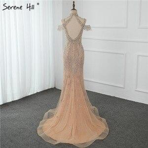 Image 5 - שלווה היל דובאי שמפניה V צוואר פניני יהלומי שמלת ערב 2020 האחרון עיצוב שרוולים בת ים סקסי המפלגה שמלת CLA70055