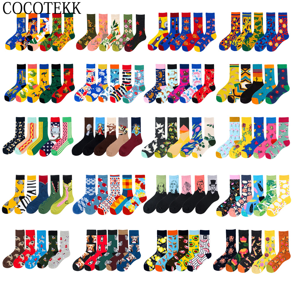5 Pairs/lot Brand Men Socks Cotton British Style Street Wear Designer Happy Socks Autumn Winter Funny Suit Christmas Gift Bag