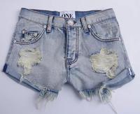 High quality denimpants New Europe and the United States hot fashion low waistline crooked bottom hip washed denim shorts