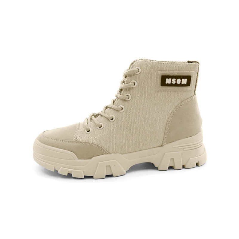 Chaussures plates femme Martin bottes épaisses avec cuir 2019 automne et hiver nouveau carré tête haute tube mode bottes minces