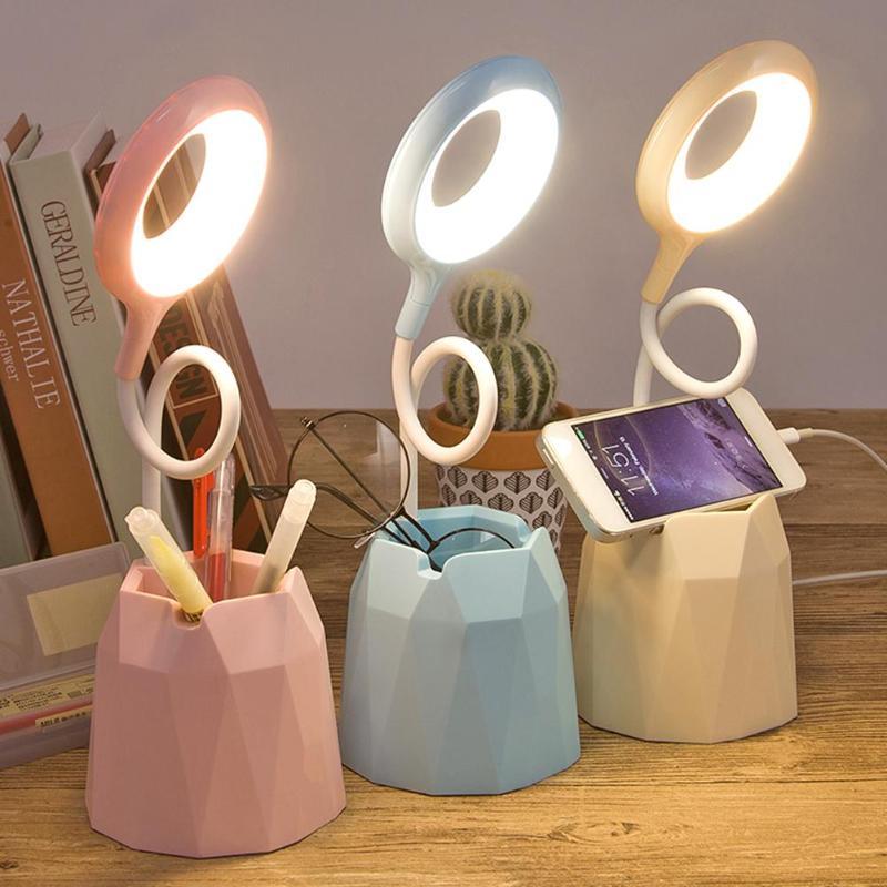 Recarregável flexível usb candeeiro de mesa brilho controlável três-toque escurecimento armazenamento caneta telefone titular toque anel luz