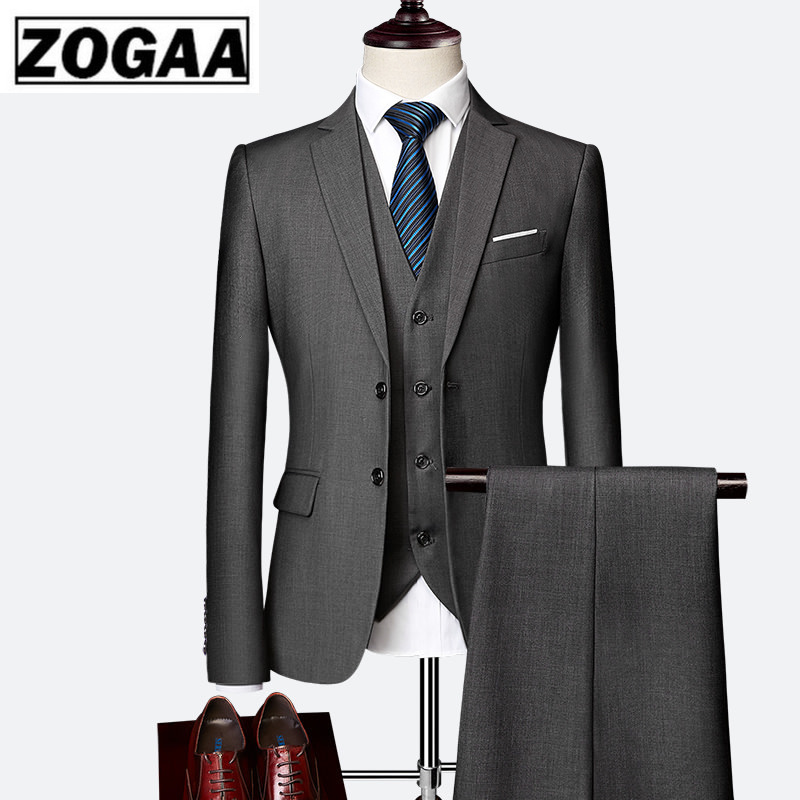 ZOGAA 2019 Male Wedding Dress Custom Made Groom Tuxedos Men's Suits Tailor Suit Blazer Suits For Men 3 Piece Jacket+Pants+Vest