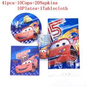 41 Uds Disney Cars Lightning McQueen Prince suministros de fiesta de cumpleaños mantel taza platos para niños Favor Baby shower cumpleaños