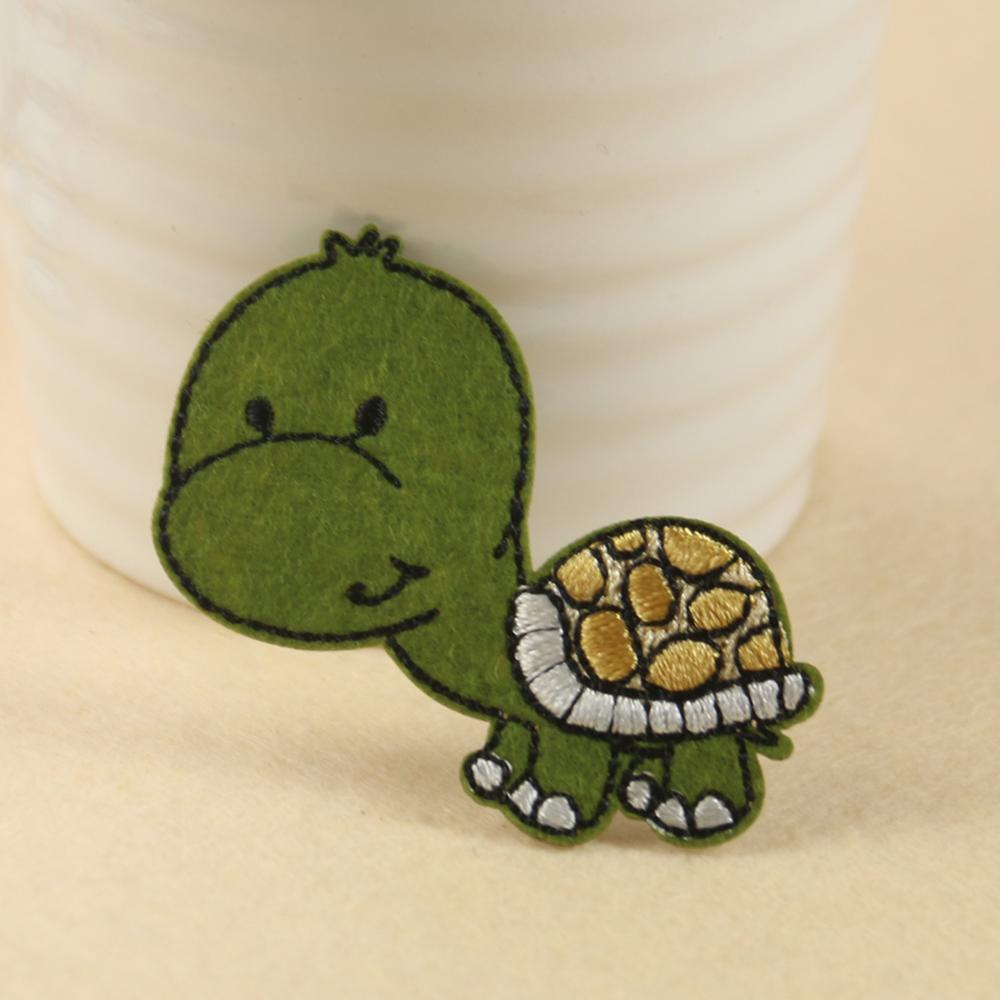 2pcs/5pcs Cute Little Turtle Tortoise Patch Embroidered Sea Land Reptile Animal Child Gift Iron Sewing Diy Decor Badge Stitch
