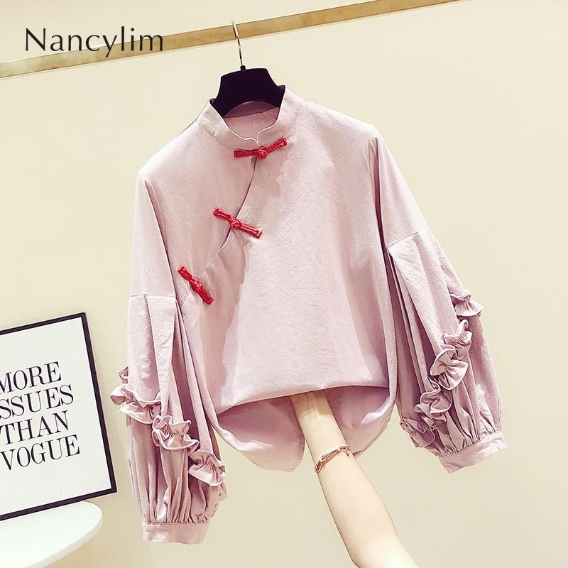 >Lantern Sleeve Blusas Woman 2019 Autumn <font><b>New</b></font> <font><b>Chinese</b></font> <font><b>Style</b></font> Stand Collar Plate Buckle Ruffles Sleeve Shirt Women's Casual Tops