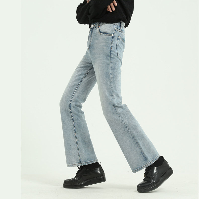 Men High Street Hip Hop Casual Small Flare Jeans Pant Male Japan Korea Style Vintage Denim Trousers Pant