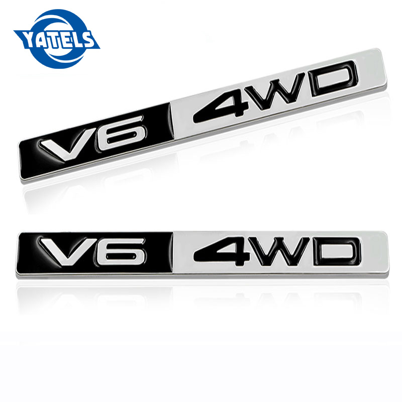 Car Styling 3D Metal Chrome 4WD V6 <font><b>Emblem</b></font> Badge Wheel <font><b>Drive</b></font> Auto 3D Car Sticker Decoration for <font><b>bmw</b></font> benz toyota Car accessories image
