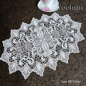 Luxury oval Lace Embroidery table place mat New year pad Cloth placemat cup mug cookware coaster Christmas gift doily kitchen diy retro lace wool placemat cup coaster tea mug coffee kitchen drink table place mat cloth crochet doilies dining felt pad 21cm