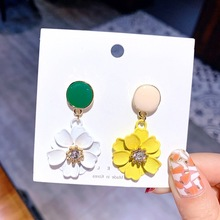Korean version of the new pearl ear line long flower tassel pendant temperament simple female earrings цена