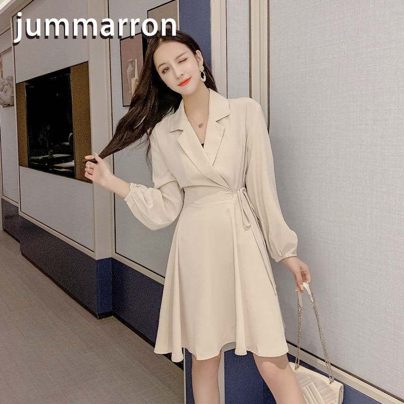 jummarron 2020 spring/fall new women's dress black dress office lady polo plus size dress long sleeve dress