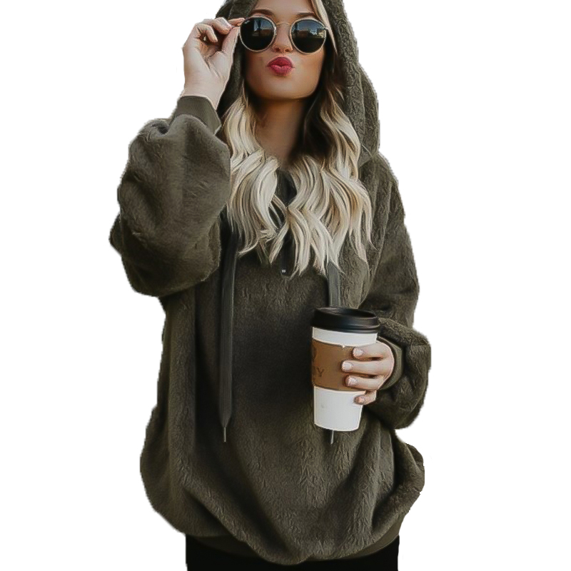 2019 New Oversized Hoodie Sweatshirt Winter Coat Women Long Sleeve Hooded Women's Clothes Velvet Jacket Down Jacket Woman Hooded