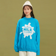 Milk Female Embroidered Cartoon