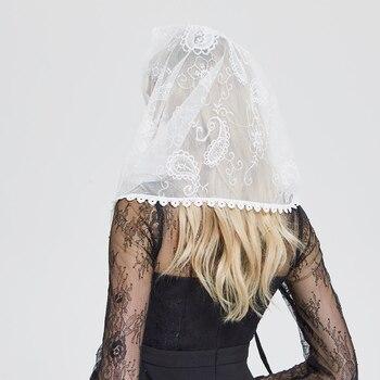 Ivory Lace Women Catholic Mantilla Veil for Church Head Cover Latin Mass Velo Mantilla de
