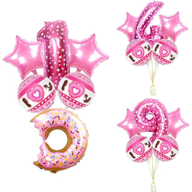 Baby Birthday  Sweet Donut Foil Balloon Set Baby Shower  Pink  Decor Supplies Cartoon Hat