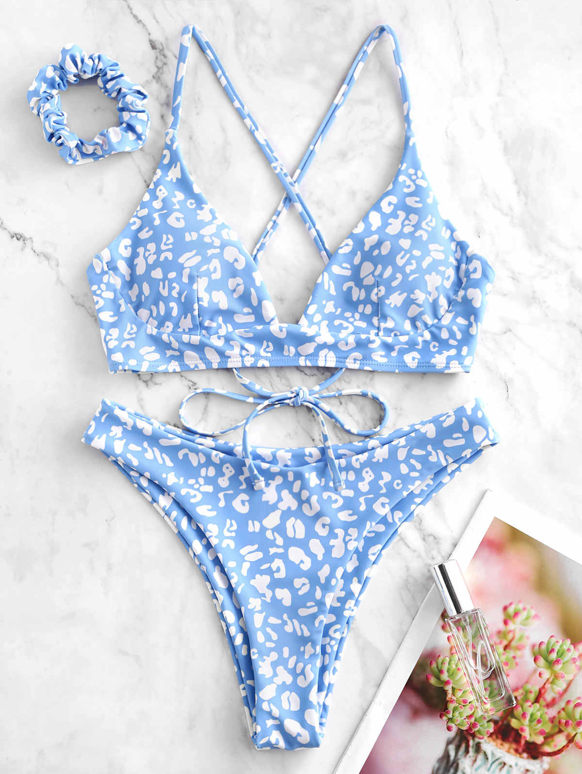 Zaful Leopard High Leg Criss Cross Bikini Swimwear Suits