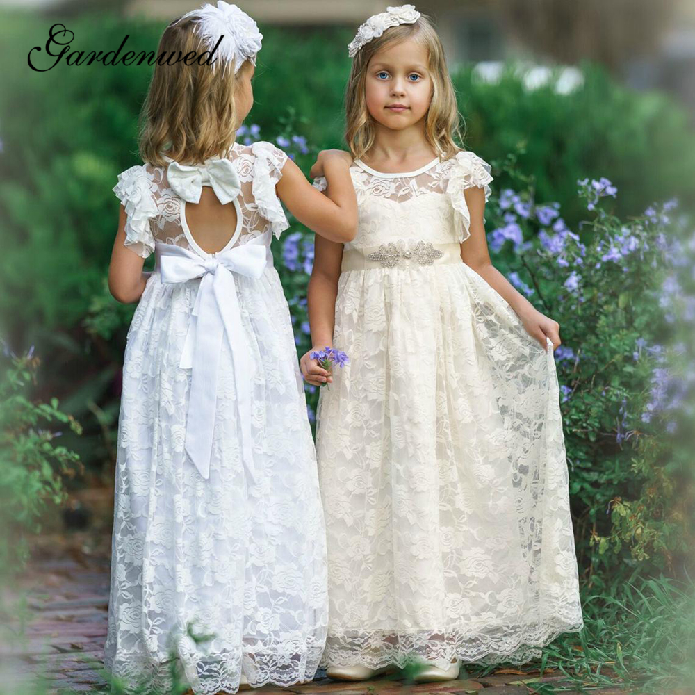 Champagne Boho Lace Flower Girl Dresses O-Neck Long Girls Beach Wedding Party Dresses Beaded Belt Bow A-Line Communion Dress