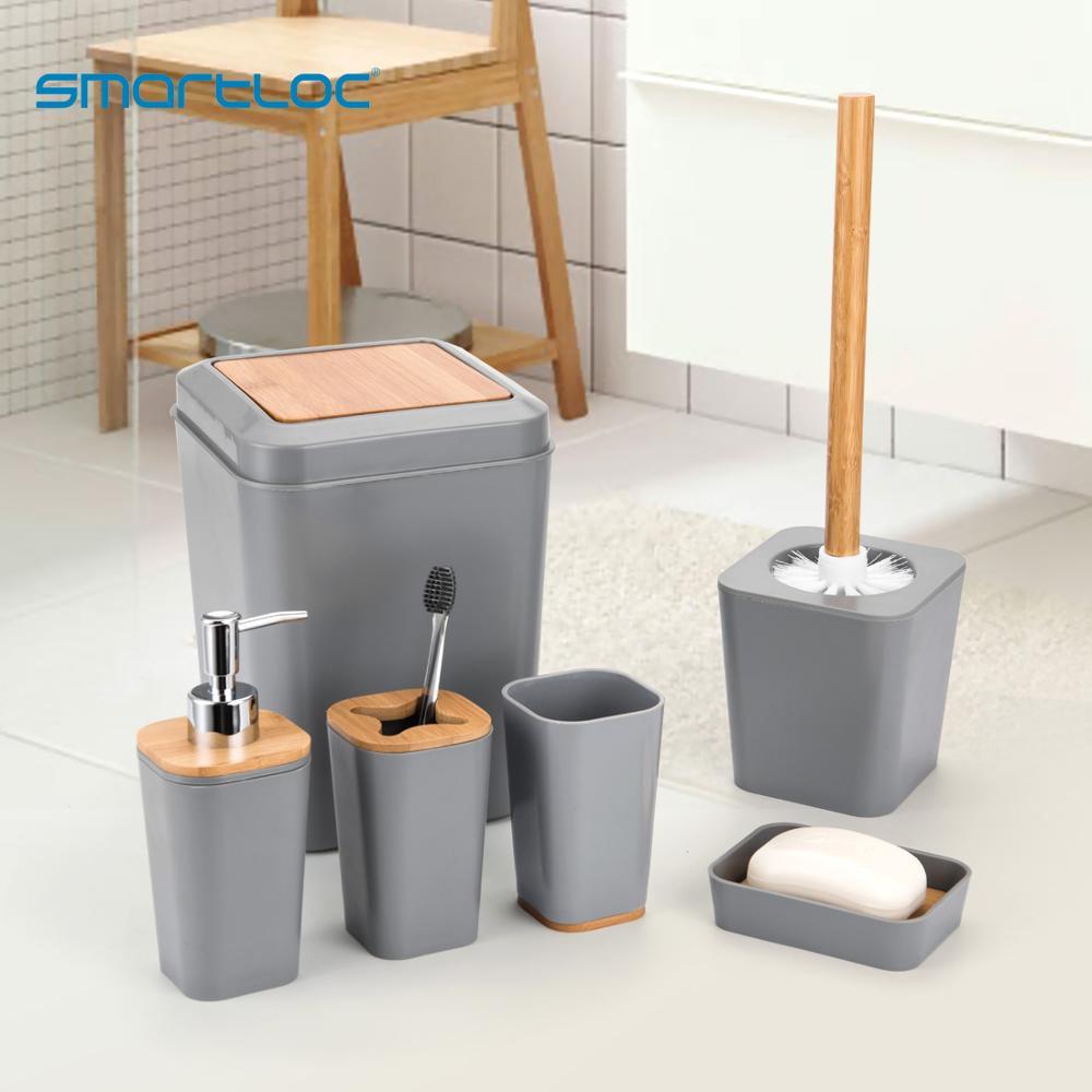 Smartloc 6 Pieces Plastic Bathroom Accessories Set Toothbrush Holder Toothpaste Dispenser Case Soap Box Toilet Shower Storage Bathroom Accessories Sets Aliexpress