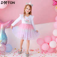 DXTON-vestidos de princesa de manga voladora para niñas, vestidos coloridos de dibujos animados para fiesta de cumpleaños