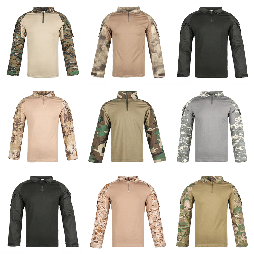 HAN WILD Men Combat Shirt Hiking T-shirts Tactical Camouflage Clothing Camping Tshirt Training Military Uniform Army Shirts