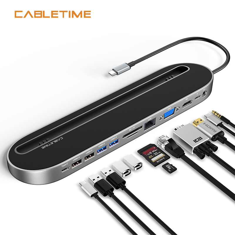 CABLETIME USB HUB Docking Type C to HDMI VGA LAN Aux USB3.0 Adapter for Matebook X Macbook Air Dell USB Docking N393
