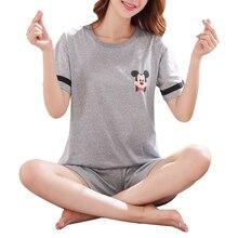 Women Summer Cute Pajama Set Cartoon Printed Short Sleeve Tops And Shorts Sleepwear Suit Casual Ladies Nightshirt Sets D30