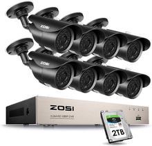 Камера видеонаблюдения ZOSI, 8 каналов, 1080 пикселей, DVR, 2 мп, 8*1080 пикселей, функция ночного видения, 2 ТБ HDD