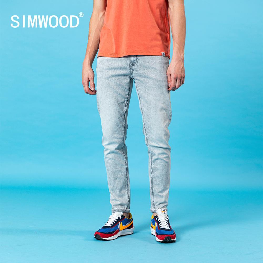 SIMWOOD 2020 summer new slim fit taperd grey jeans men wash denim trousers 10.5oz double core yarn classical jeans SJ150391