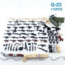 115 sztuk broń Box Guns Mini żołnierz akcesoria wojskowe serii klocki do budowy figurki zestawy armii Model cegły dzieci zabawki dla dzieci
