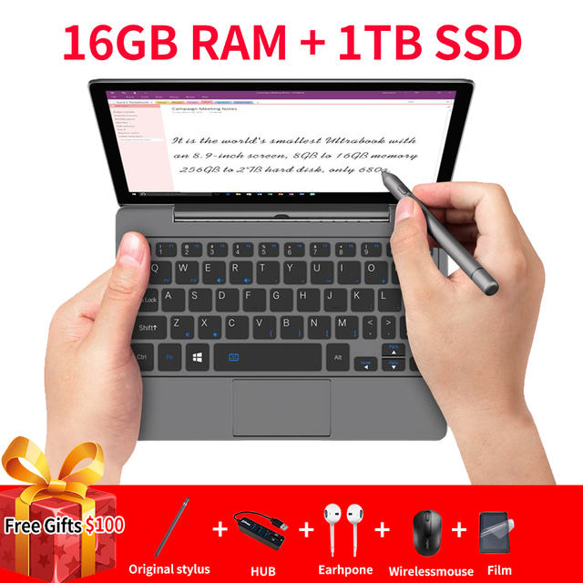 GPD P2 Max Portable Ultrabook mini pc notebook laptop 8.9inch Intel m3-8100Y Touch Screen WIN10 16GB RAM 1TB ROM WIN10 systerm 1