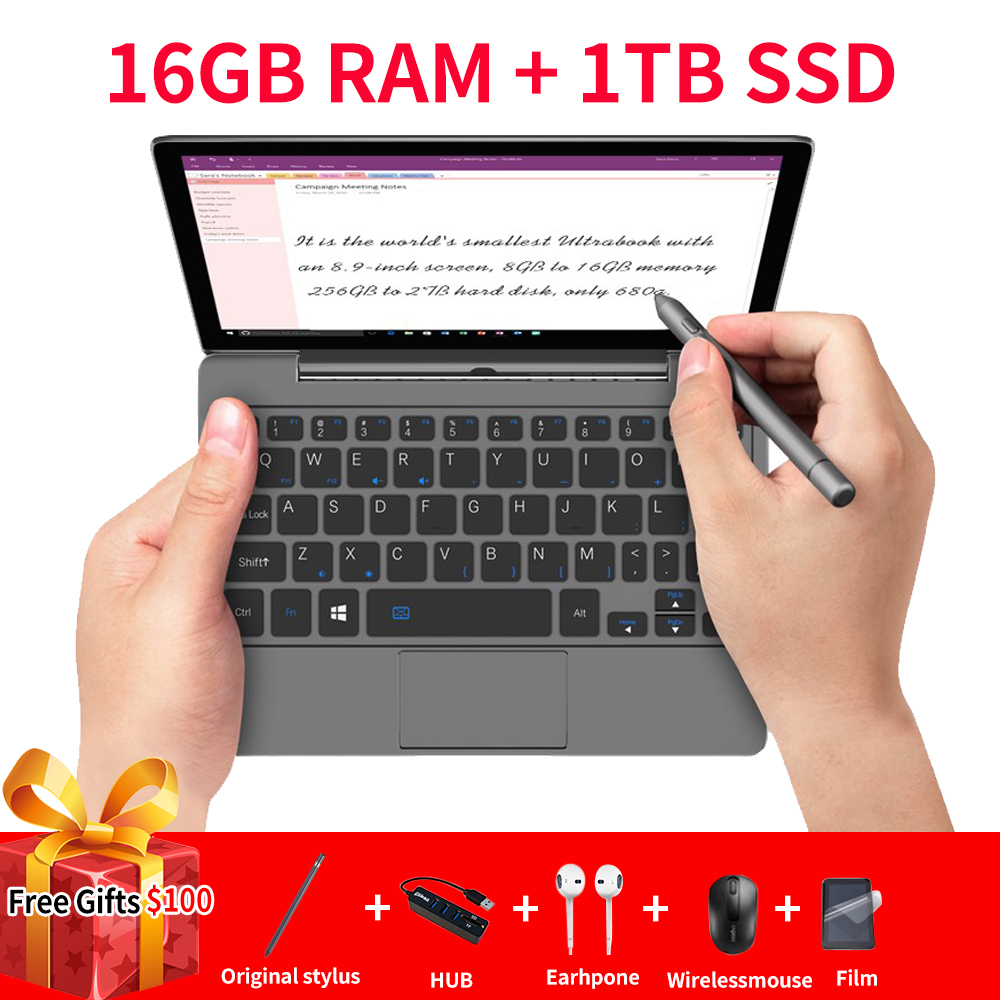 GPD P2 Max Portable Ultrabook mini pc notebook laptop 8.9inch Intel m3-8100Y Touch Screen WIN10 16GB RAM 1TB ROM WIN10 systerm image