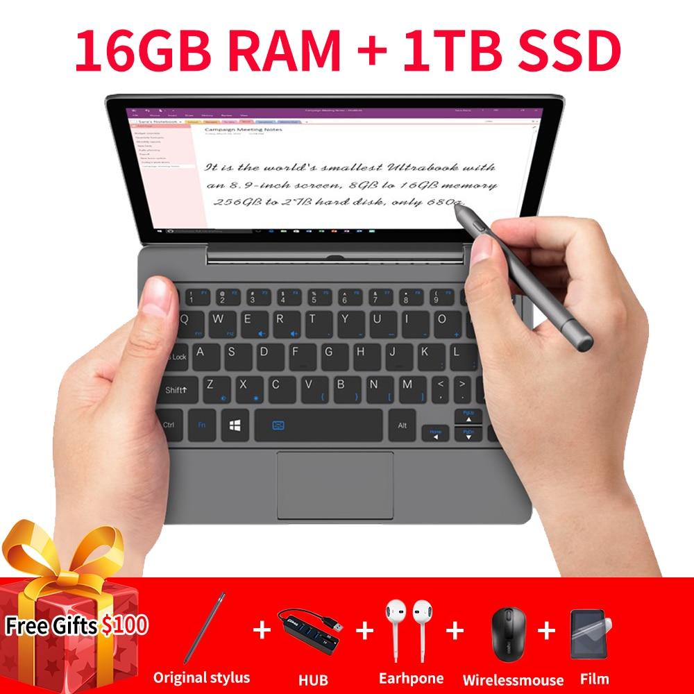 Gpd p2 ultrabook portátil max mini computador portátil notebook 8.9 polegada intel m3-8100Y tela de toque win10 16 gb ram 1 tb rom win10 systerm