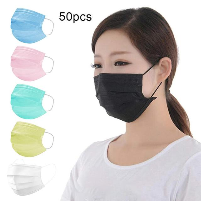 50Pcs Disposable Breathable Anti Bacteria Dustproof Protection Mouth FaceMask маска тканевая для лица In stock fast shipments