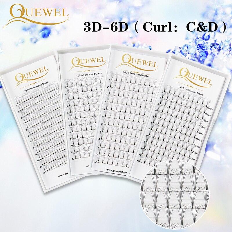 Quewel Lash Eyelash-Extensions Volume-Fans Russian-Volume Premade Professional C--D-Curl